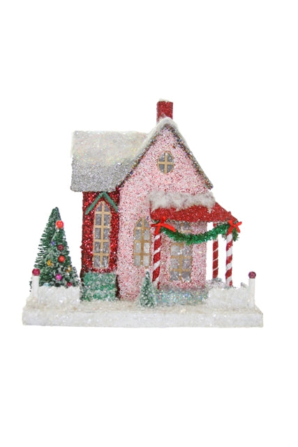 Pink and Red Merry and Bright Bungalow Collectible