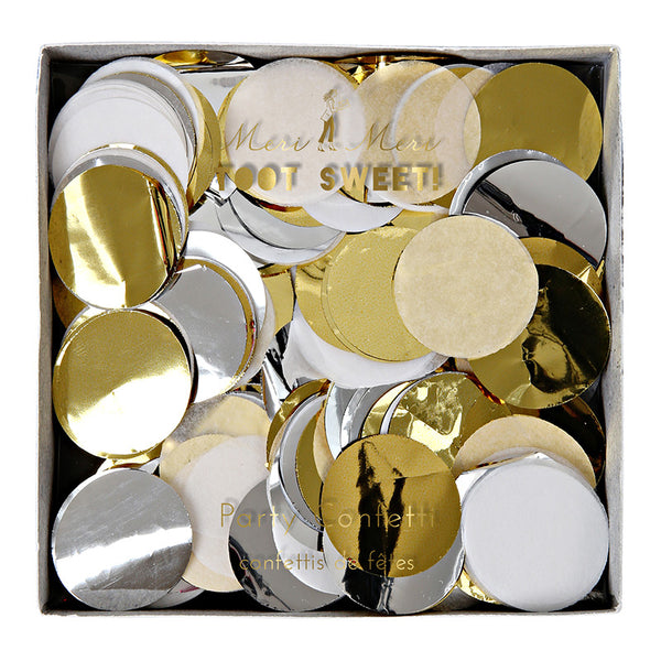silver, gold and white metallic paper party confetti