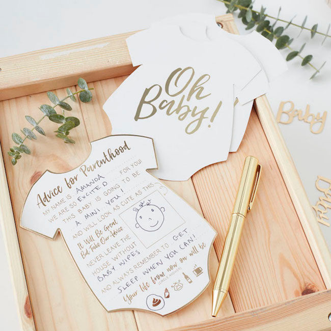 white and gold onesie Baby Shower Advice Cards