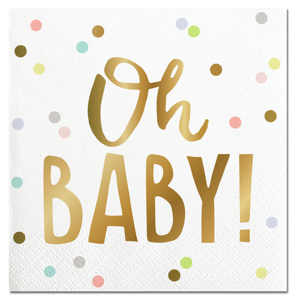 "paper party napkins with pastel dots and ""oh baby"" in gold foil"
