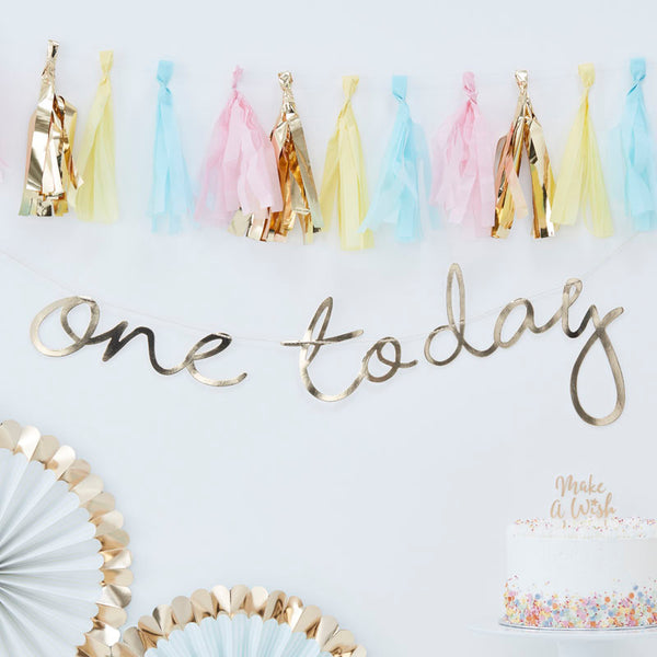 First Birthday Garland That Says One Today Hanging on a Wall