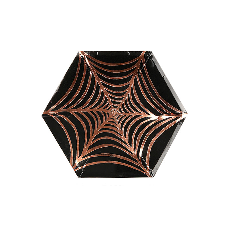 Orange and Black Spiderweb Party Plates