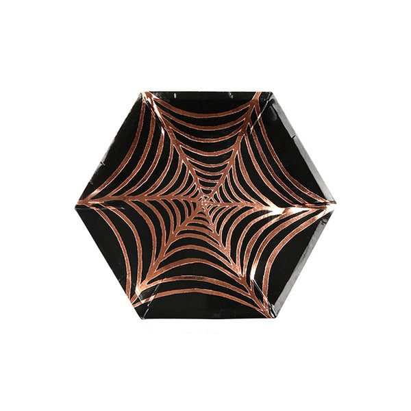 spiderweb Halloween party plates with orange foil detail