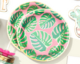 Tropical Party Plates on a white table