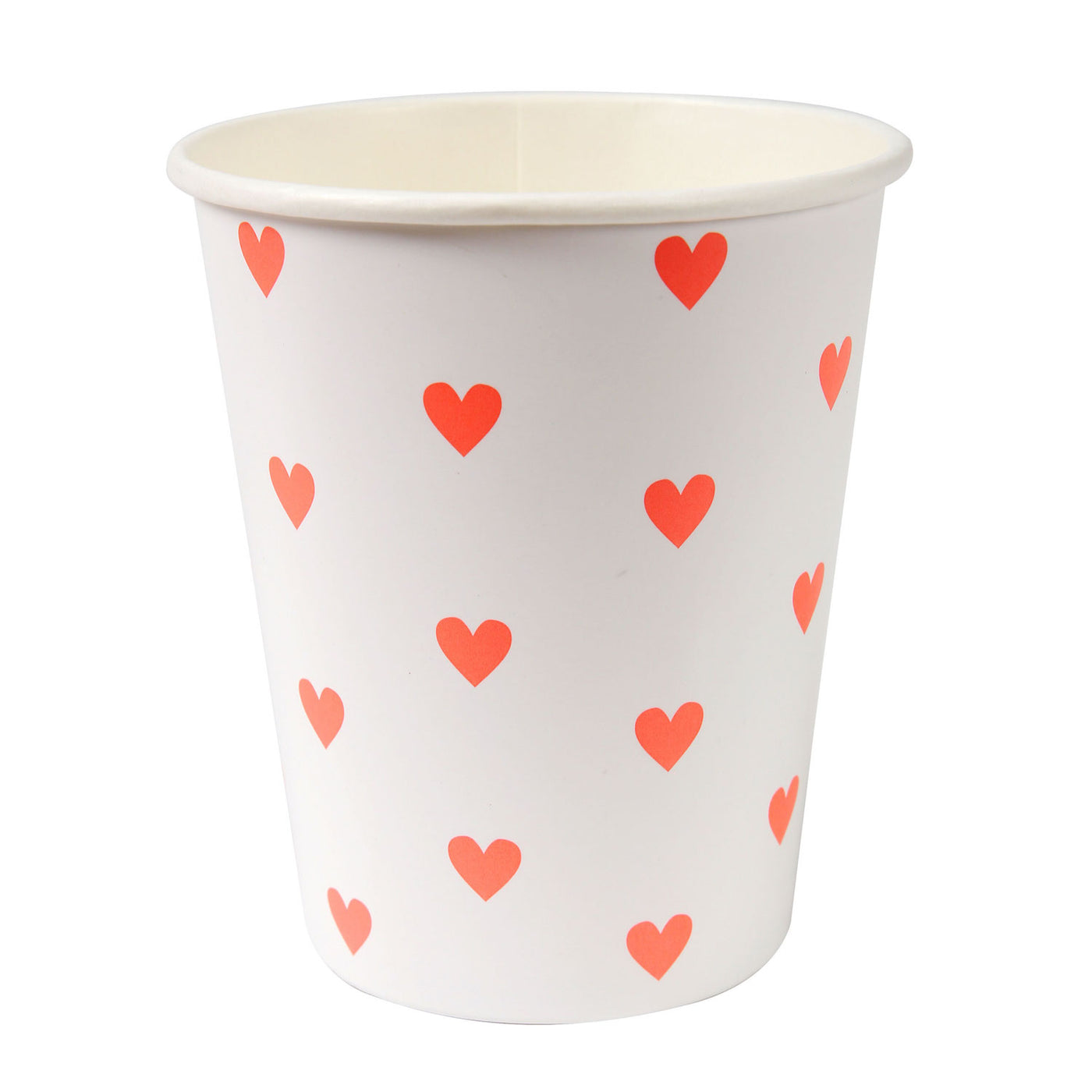 White Valentine's Party Cups with Pink hearts