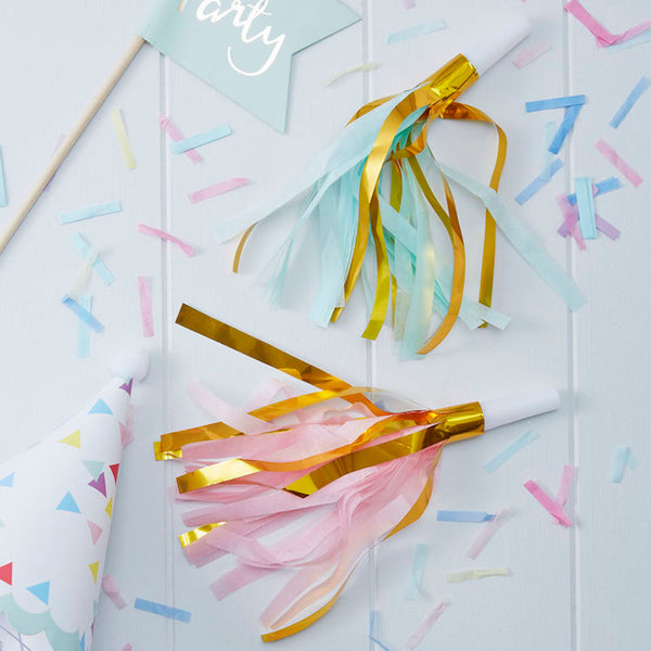 pink, mint green and gold tassel party horns