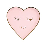 Meri Meri pink heart plates with a gold smile
