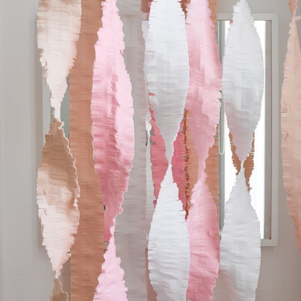 peach, pink and white crepe paper party streamers