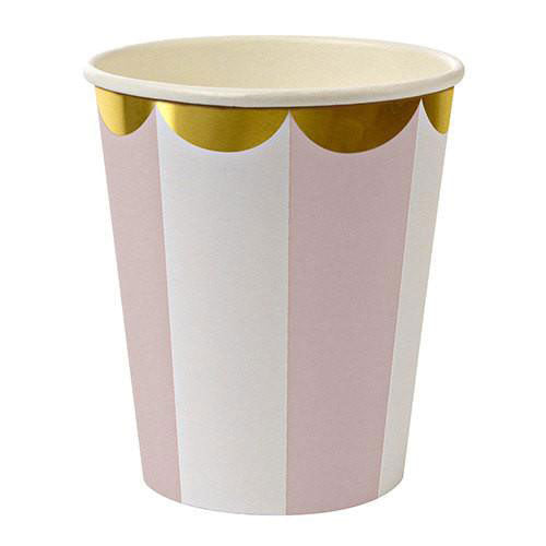Meri Meri pink striped cups