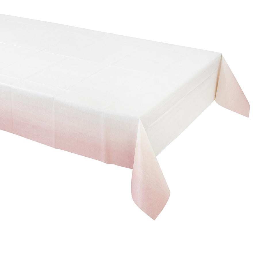 pink party table cover with an ombre design