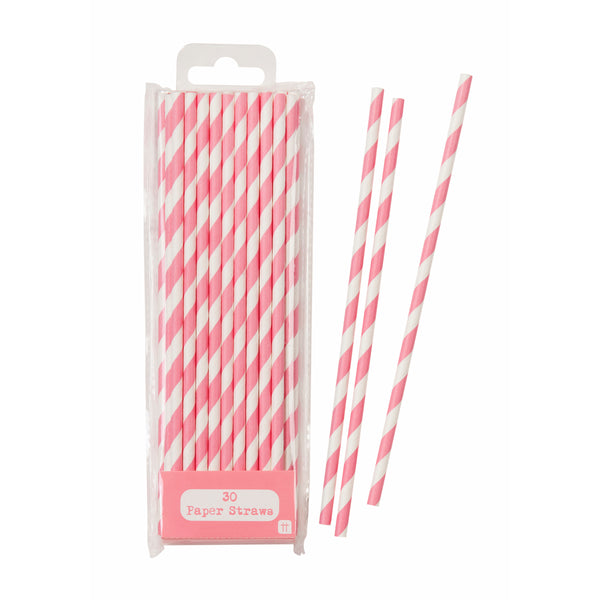 a pack of pink paper straws with white stripes