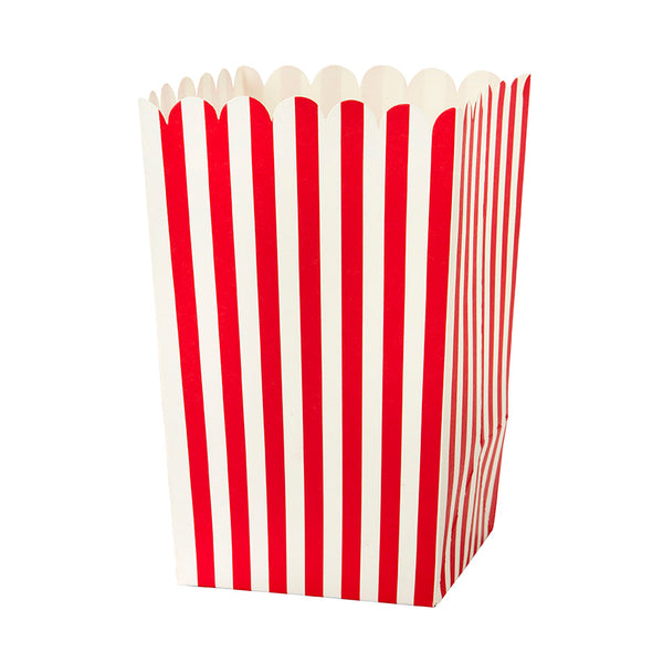 vintage popcorn holder with red and white stripes