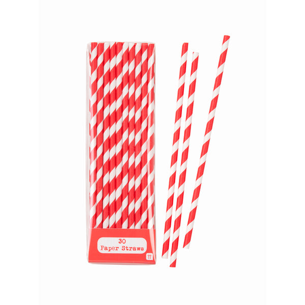 red and white striped paper party straws