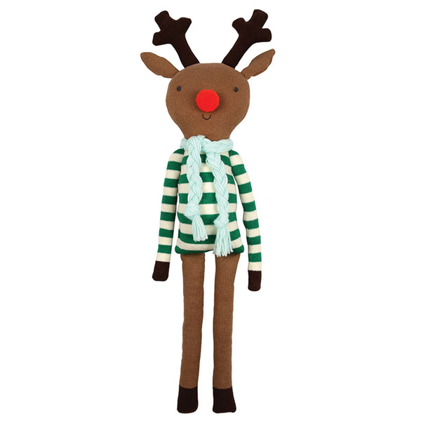 Rudolf Stuffed Reindeer wearing a green sweater and scarf