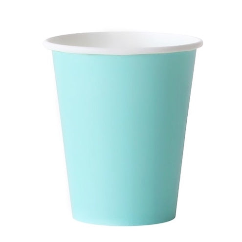 Robin's Egg Blue Cups Against White Background