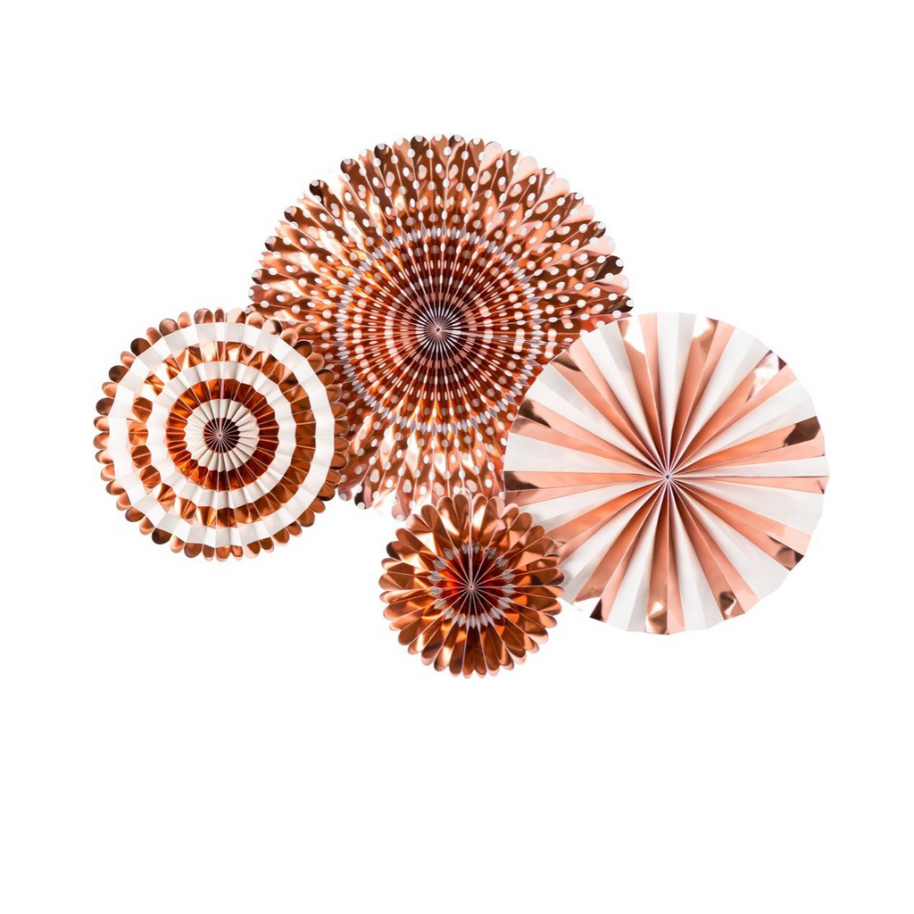 Rose Gold Paper Fans against white background