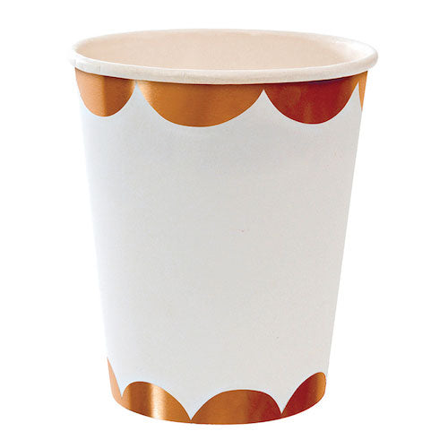 White and rose gold paper party cups with scallops