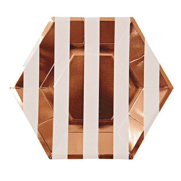 rose gold and white striped paper party plates