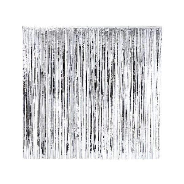Silver Fringe Backdrop hung up against white background