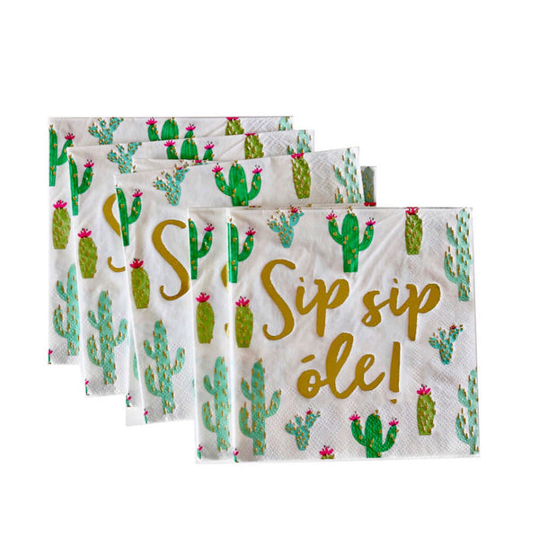 Sip, Sip, Ole Cactus Napkins - Witty Bash