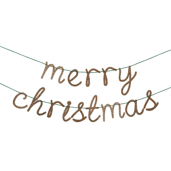 sparkly gold Merry Christmas garland