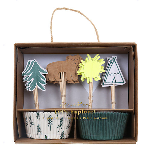 tribal cupcake kit with woodsy trees, bears and teepee toppers