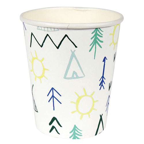 tribal paper party cups with teepees, arrows and mountains