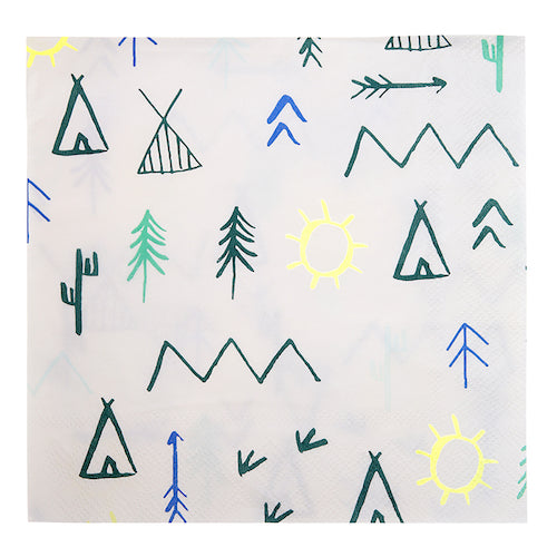 White Woodland Party Napkins with Teepees, Mountains and Sun Icons