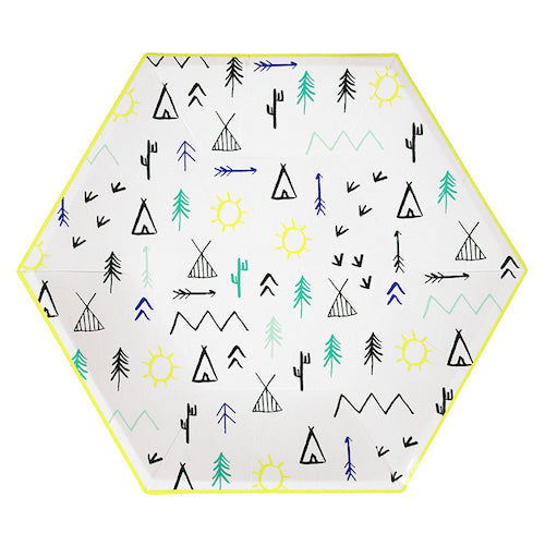 Hexagonal Woodland Party Plates Designed with Teepees and Mountains
