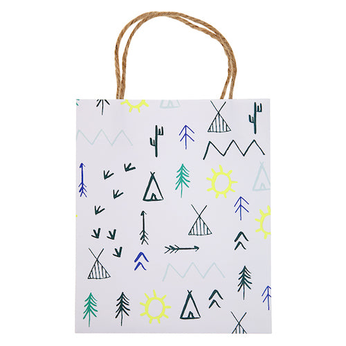 tribal party favor bags designed with mountains, bears, trees and other woodsy details