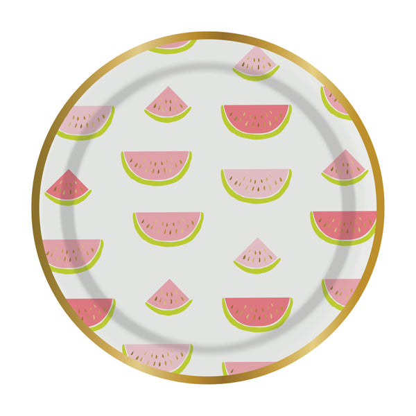 pink and gold foil watermelon party plates