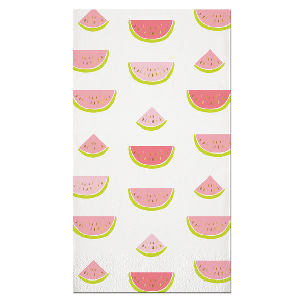 Watermelon with gold foil seeds paper guest towels