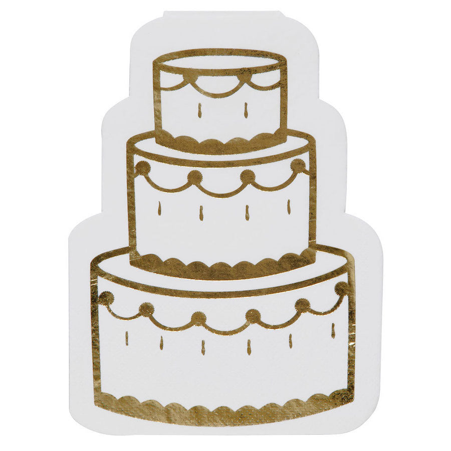 White and Gold Foil Wedding Cake Napkins