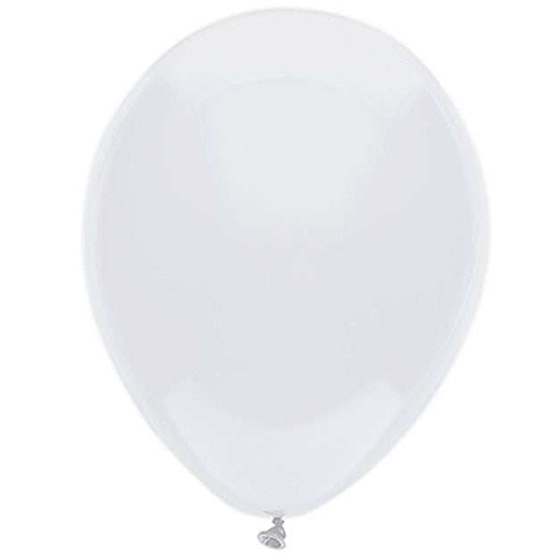 inflated shiny white latex balloons