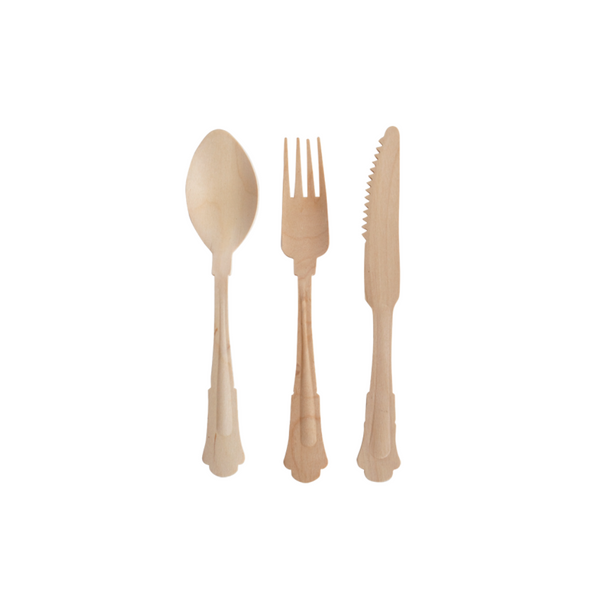 fancy wood spoons, forks and knives