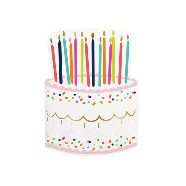 birthday cake napkins designed with gold foil details and colorful candles