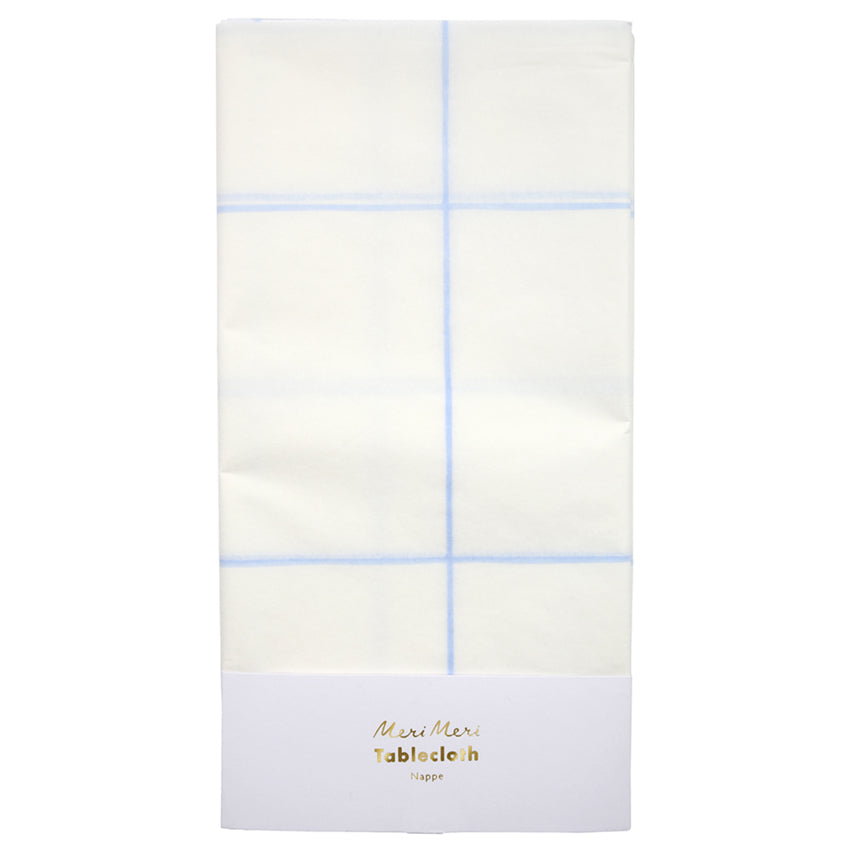 Party Table Cover - Blue Grid - Witty Bash
