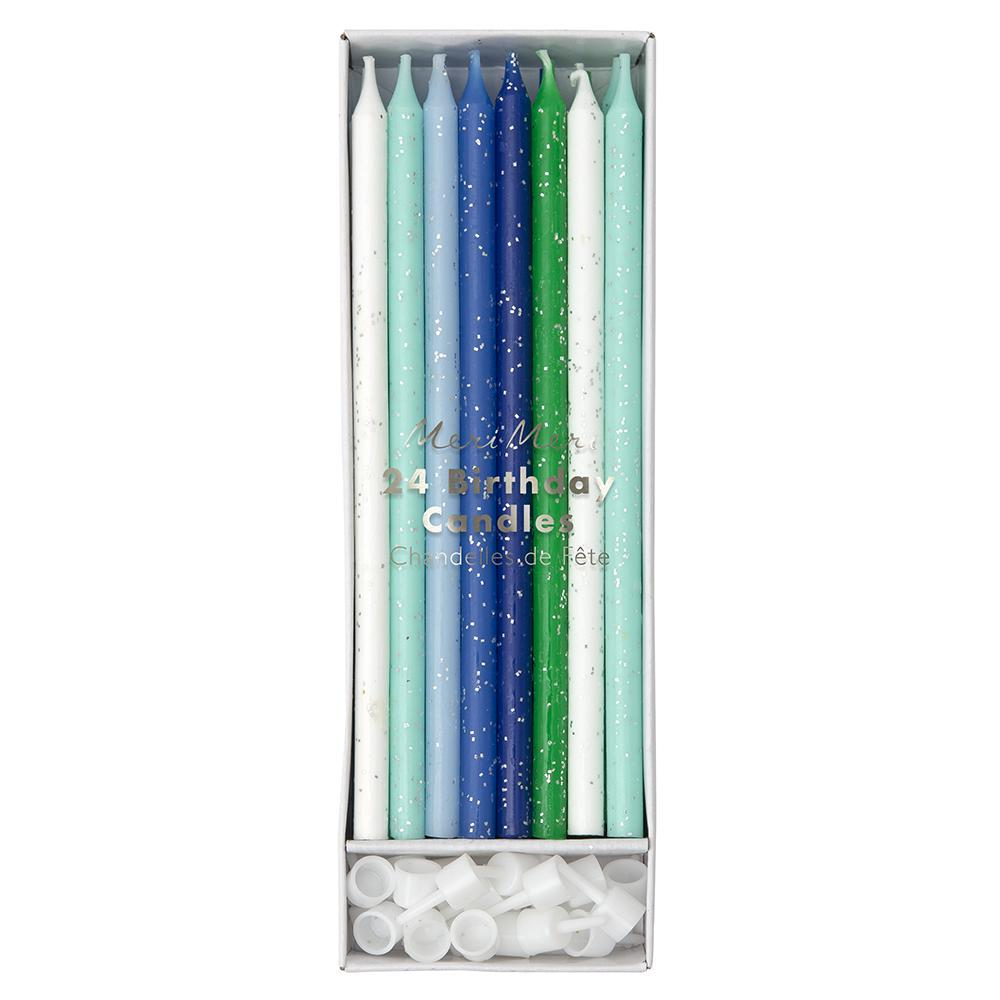 tall blue cake candles