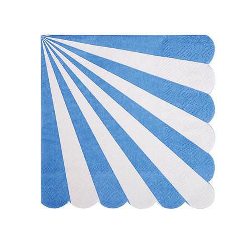 Blue party napkins with white stripes and a scalloped edge