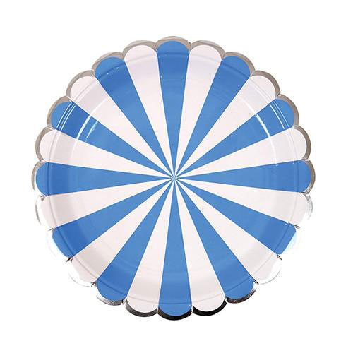 Blue party plates with white stripes and silver scallops