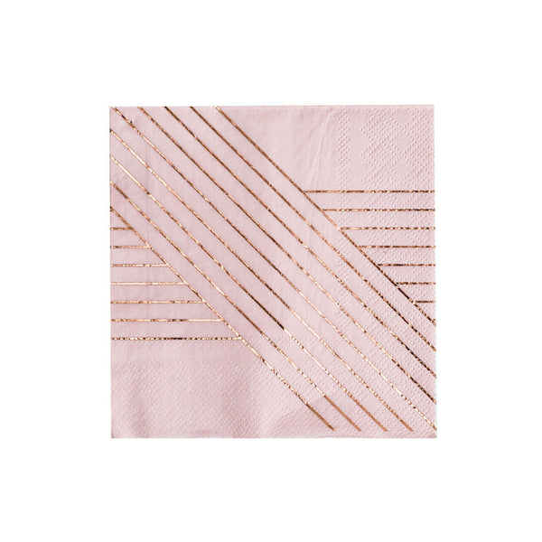 blush napkins with rose gold stripes