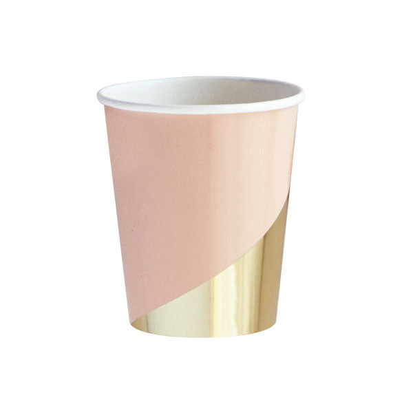 blush cup with gold foil detail