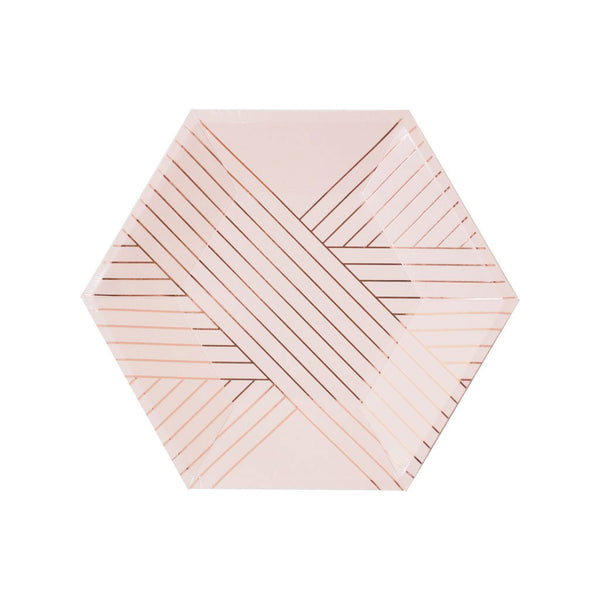 pretty blush plates with delicate rose gold stripes