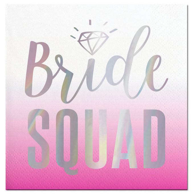 Pink and Silver Bride Squad Napkins