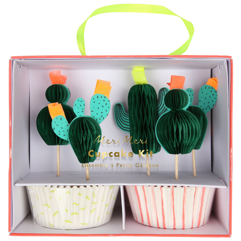 Cactus cupcake kit including liners and honeycomb cactus toppers