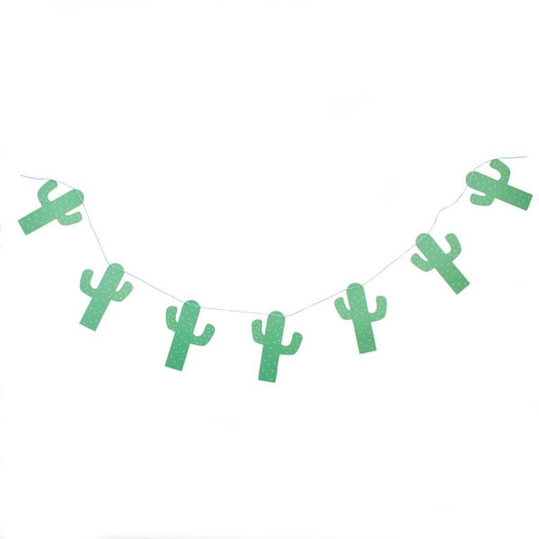 green cactus party banner strung together