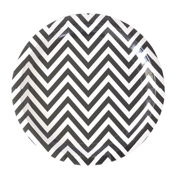 black and white chevron party plates