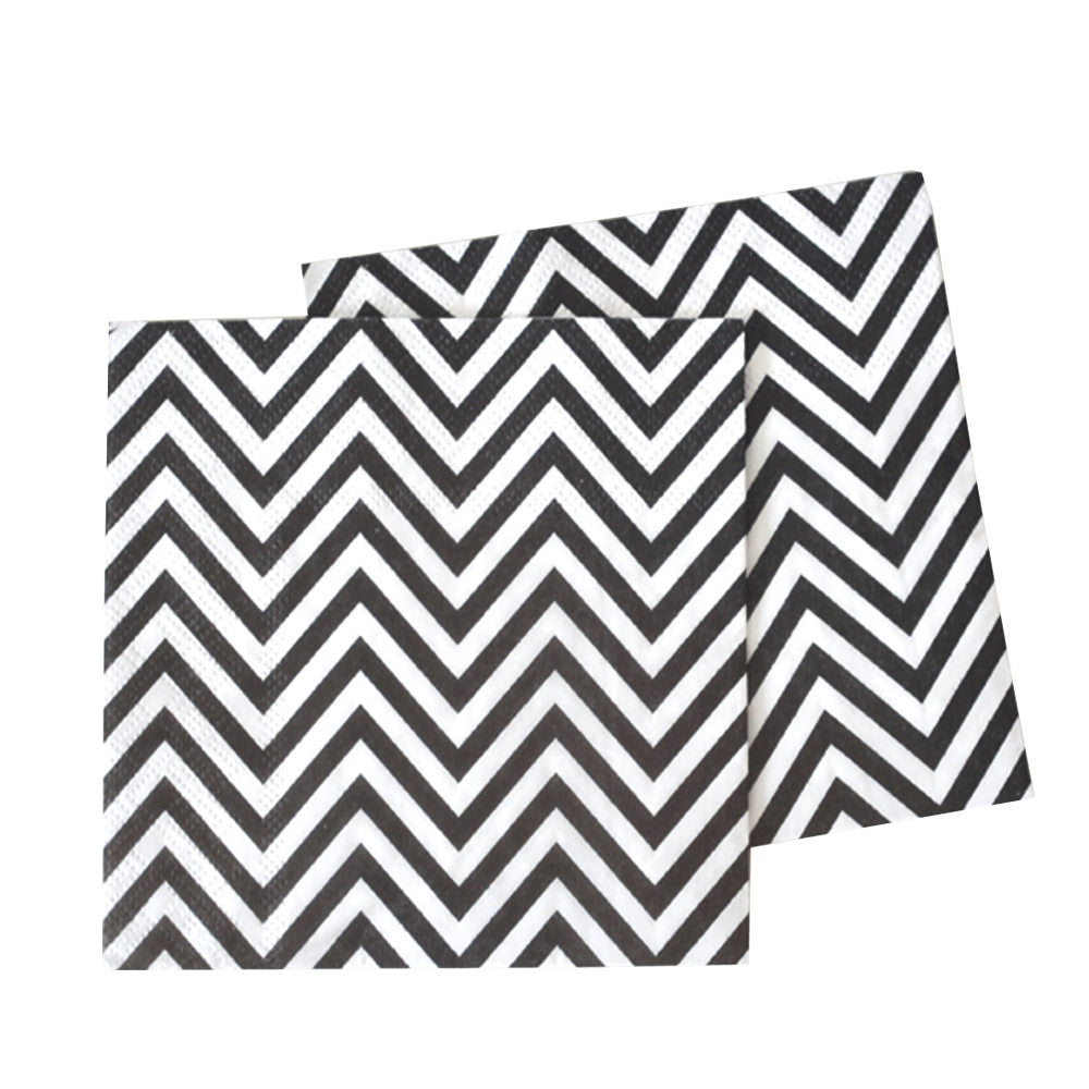 Black and white tribal party napkins with a chevron print
