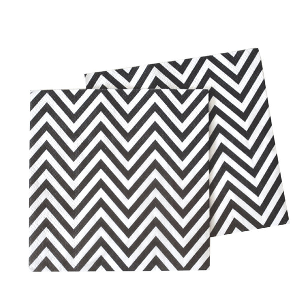 black and white chevron napkins