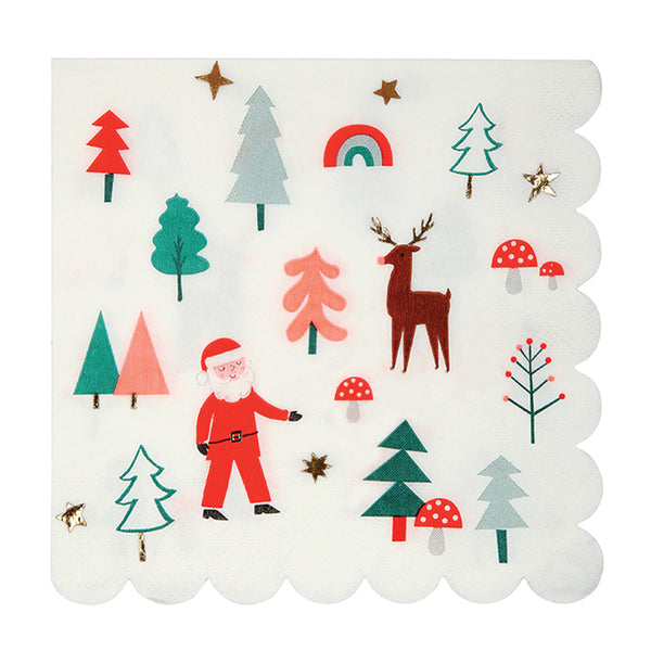 Christmas napkins designed with Santa clause, reindeer and more.